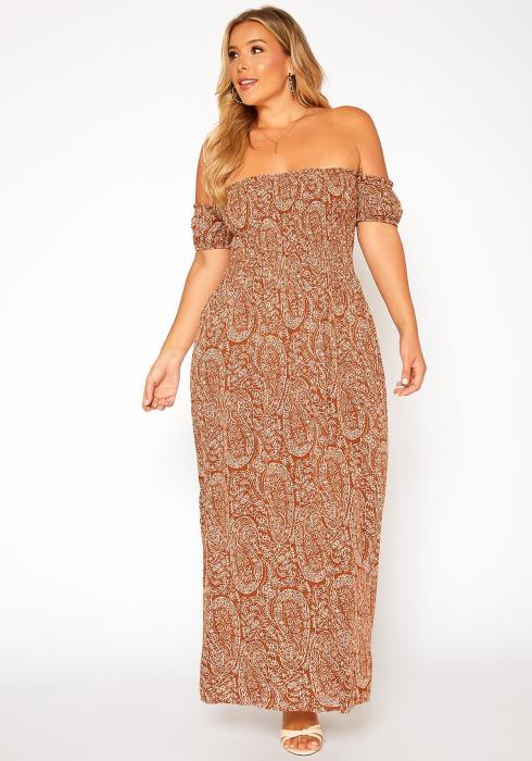 Asoph Plus Size Paisley Print Off Shoulder Maxi Dress