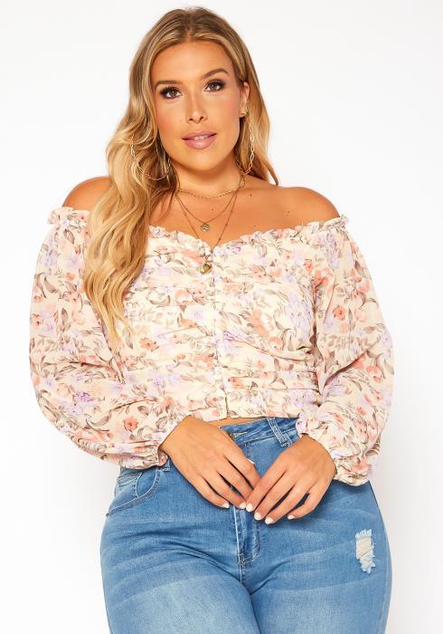 Asoph Plus Size Floral Print Off Shoulder Top
