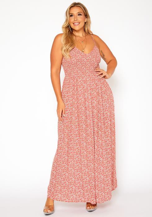 Asoph Plus Size Dainty Floral Print Maxi Dress