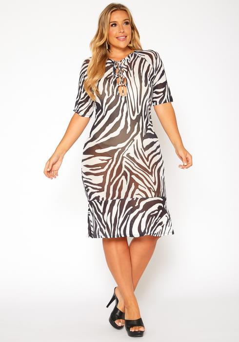 Asoph Plus Size Zebra Print Cover Up Midi Dress