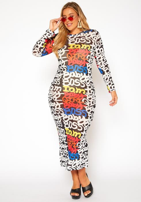 Asoph Plus Size Girl Boss Bodycon Maxi Dress