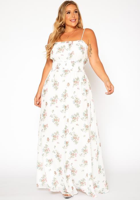 Asoph Plus Size Floral Print Flare Maxi Dress