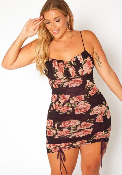 Asoph Plus Size Floral Print Drawstring Mini Dress