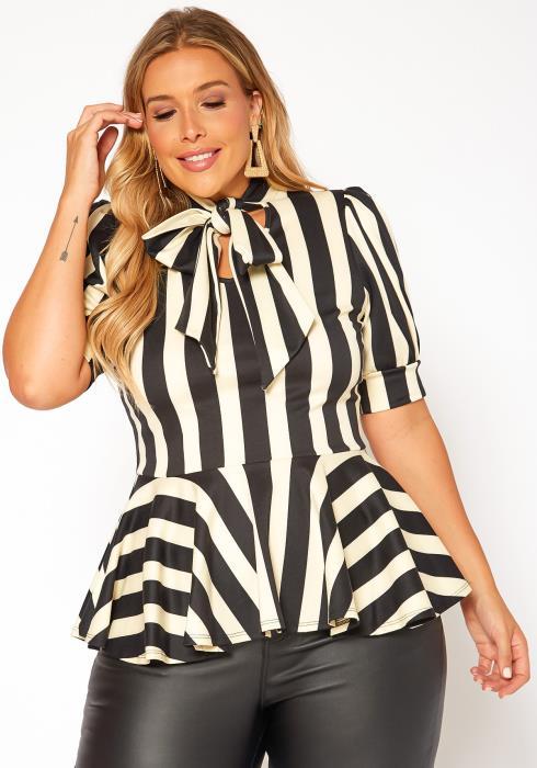 Asoph Plus Size Wide Striped Bow Collar Peplum Top
