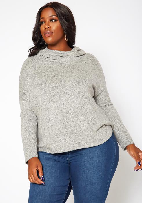 Asoph Plus Size Cowl Neck Knit Sweater