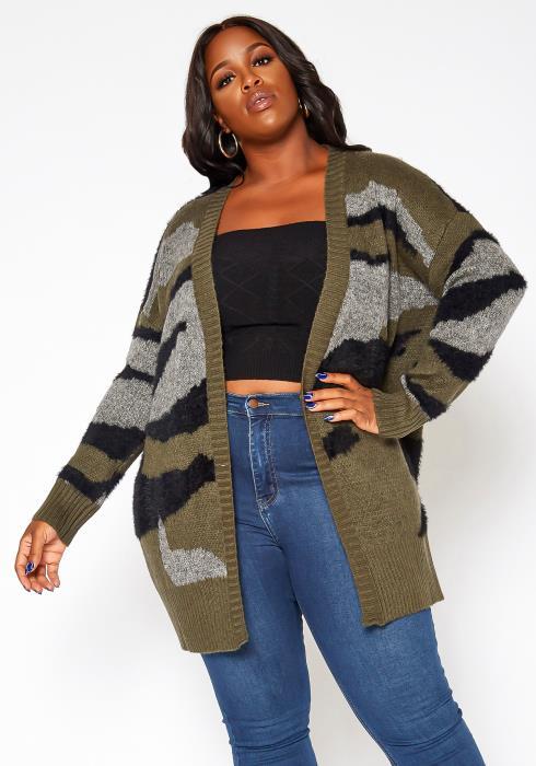 Asoph Plus Size Camo Print Knit Cardigan