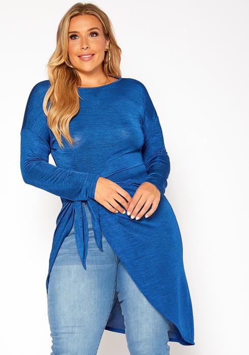 Asoph Plus Size Asymmetrical Hem Longline Shirt