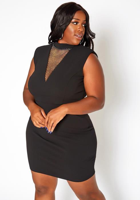 Asoph Plus Size Rhinestone Hem Bodycon Mini Dress