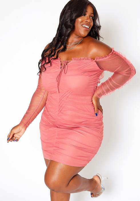 Asoph Plus Size Off Shoulder Bodycon Mini Dress