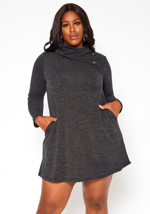 Asoph Plus Size Asymmetric Cowl Neck Mini Dress