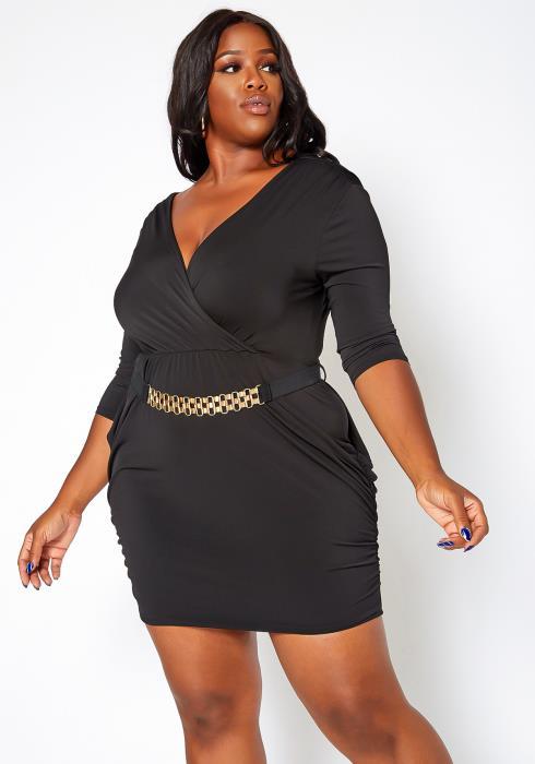 Asoph Plus Size Belted Half Sleeve Bodycon Mini Dress