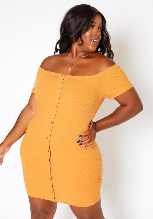 Asoph Plus Size Off Shoulder Button Hem Mini Dress
