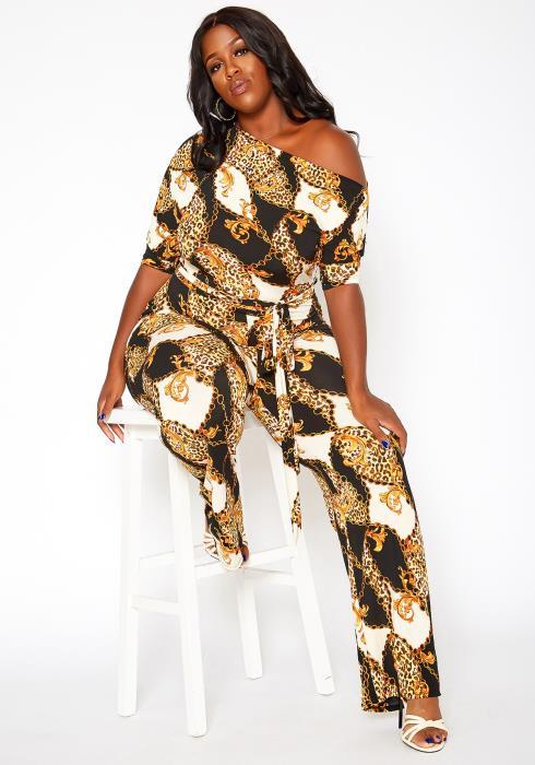 Asoph Plus Size Golden Leopard Print Belted Jumpsuit