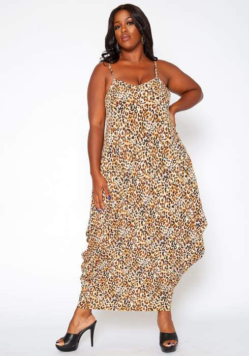 Asoph Plus Size Cheetah Print Harem Maxi Dress