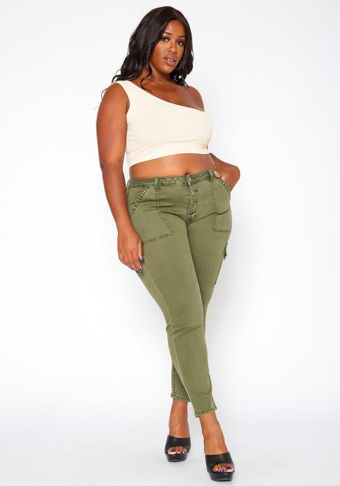Asoph Plus Size Skinny Cargo Jeans