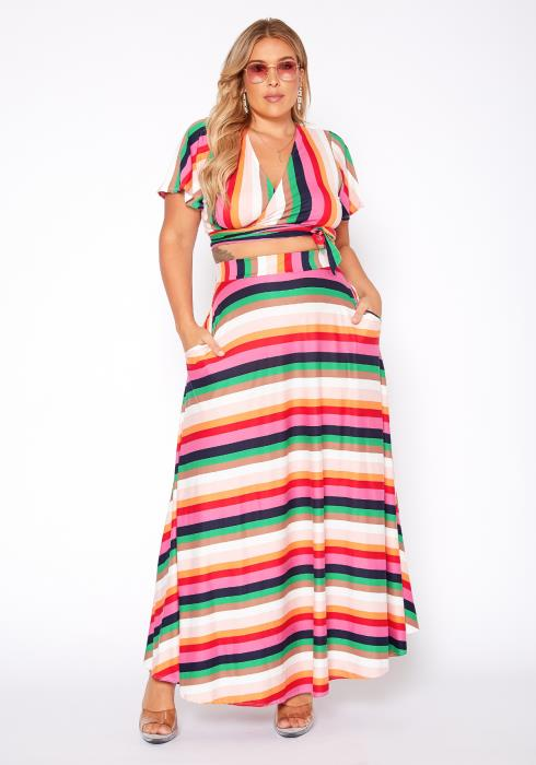 Asoph Plus Size Stripe Crop Top & Flare Maxi Skirt Set