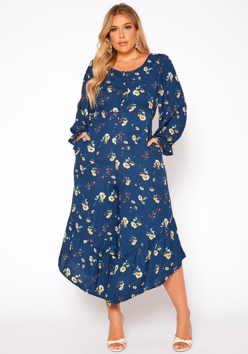 Asoph Plus Size Floral Print Flare Jumpsuit