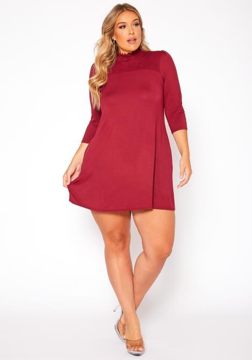 Asoph Plus Size Smocked Detail Mock Neck Mini Dress