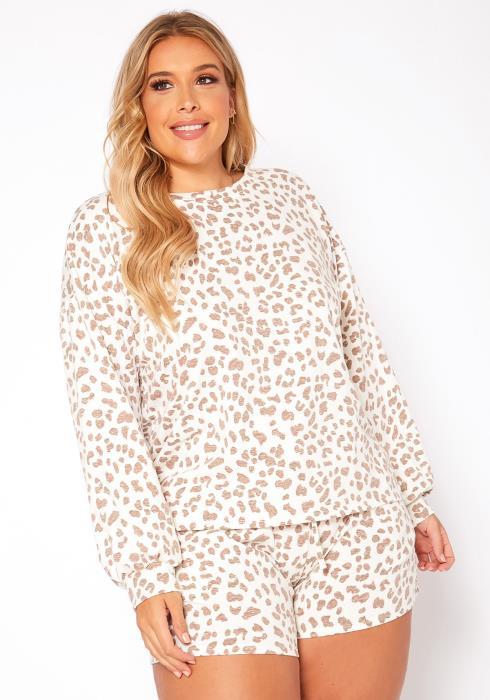 Asoph Plus Size Nude Leopard Print Two Piece Set