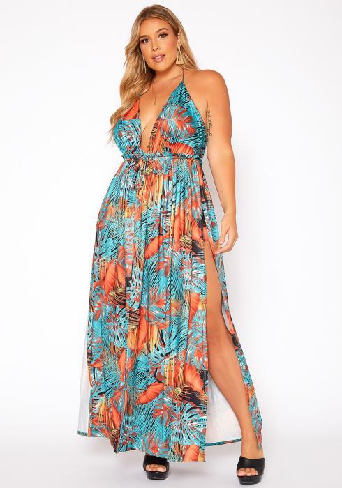 Asoph Plus Size Tropical Print Halter Neck Dress