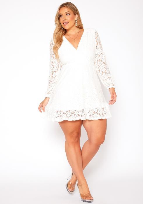 Asoph Plus Size Lace Floral Flare Mini Dress