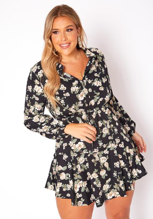 Asoph Plus Size Floral Print Flare Mini Dress