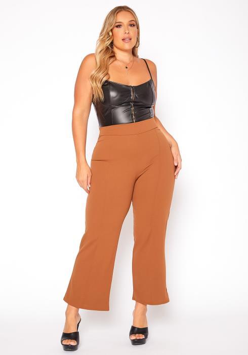 Asoph Plus Size High Waist Flare Pants