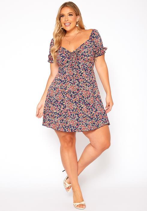 Asoph Plus Size Floral Print Sweetheart Neck Mini Dress