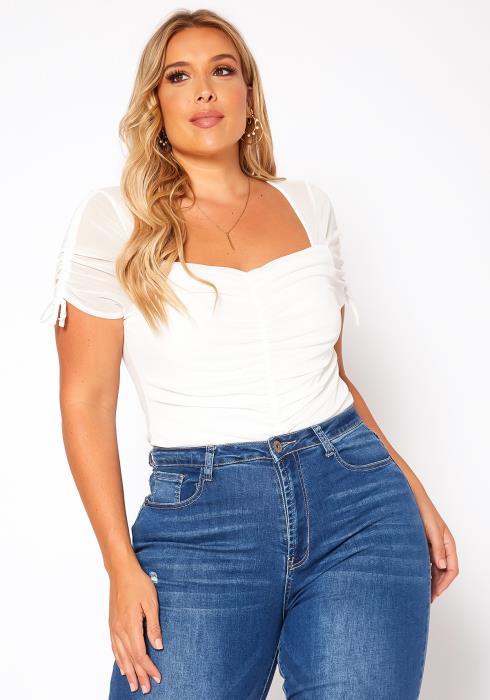Asoph Plus Size Ruched Sweetheart Neck Bodysuit