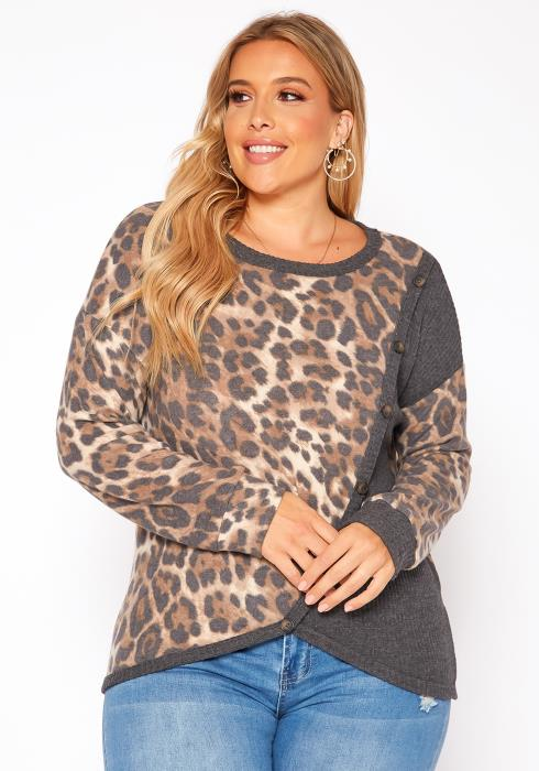 Asoph Plus Size Leopard Splice Knit Sweater