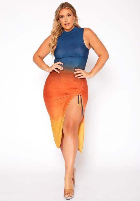 Asoph Plus Size Gradient Color Bodycon Midi Dress