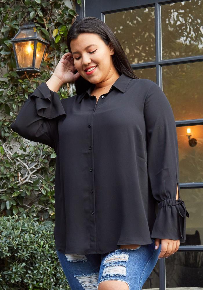 Pleione Self-tie Bell Cuff Plus Size Women Clothing Button ...