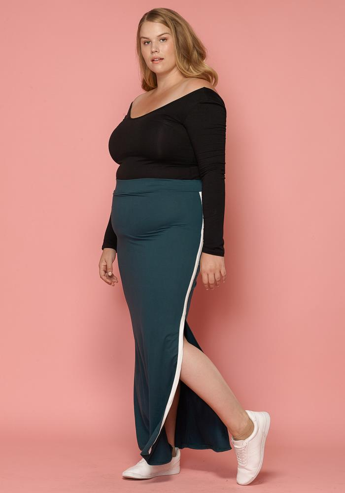 62f63b7c641 Asoph Plus Size Slit Maxi Pencil Skirt