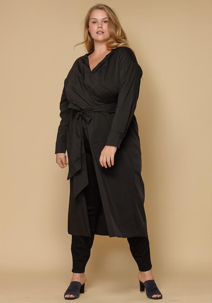 f090a0b74db Asoph Wrap Slit Hem Plus Size Women s Shirt