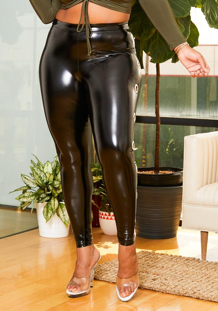 Asoph O-Ring Latex Plus Size Leggings Women Clothing | Asoph.com