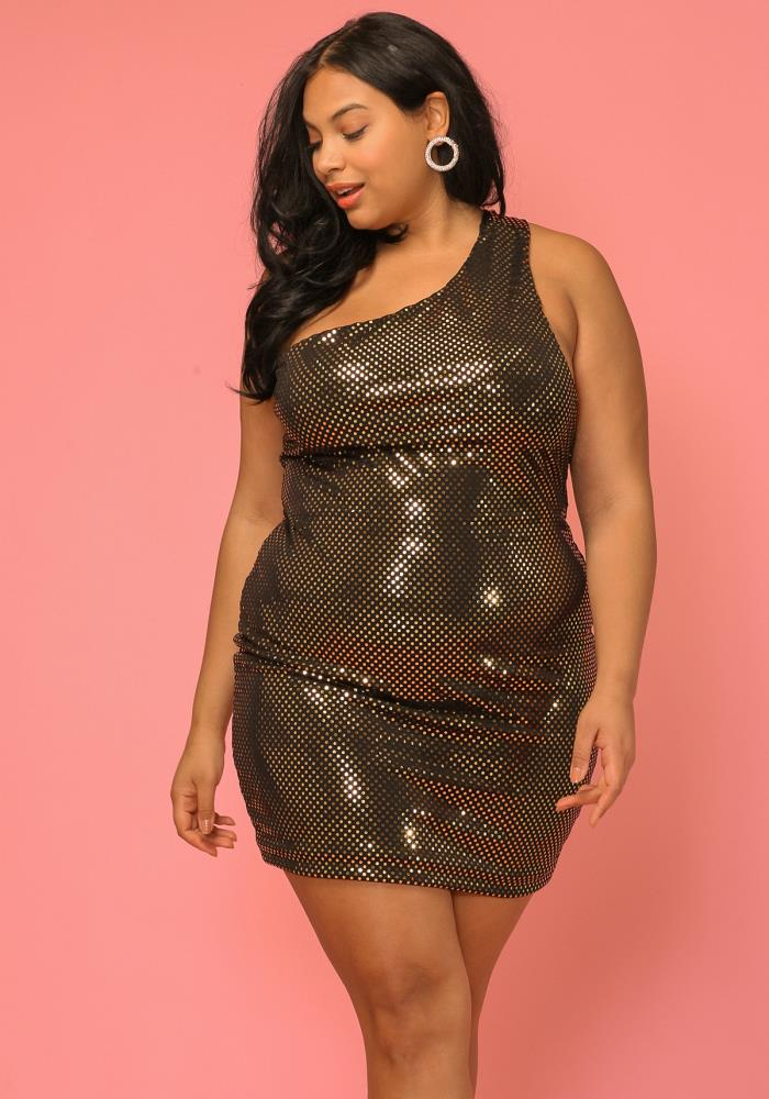 Asoph Women Clothing Plus Size One Shoulder Disco Dress | Asoph.com