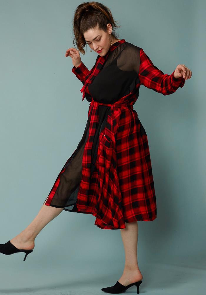 9a9c4c271e8 Asoph Plus Size Sheer Mesh Contrast Plaid Shirt Dress