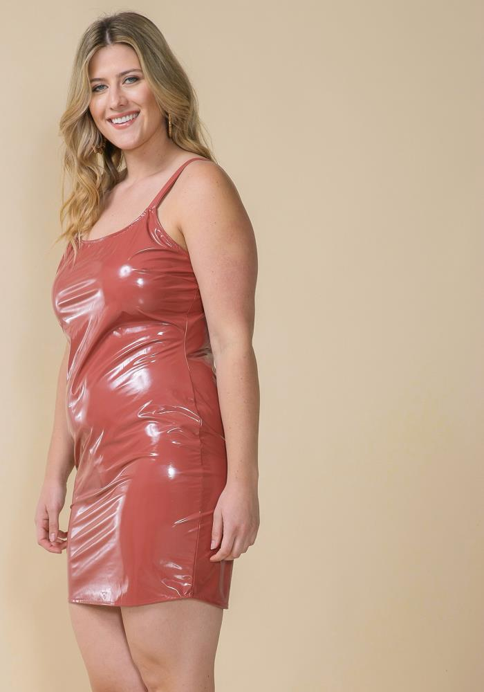ASOPH PLUS SIZE LATEX SLEEVELESS BODYCON DRESS