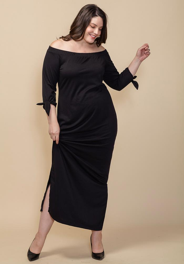 f2fbc56ec41 Asoph Plus Size Off Shoulder Slit Hem Dress