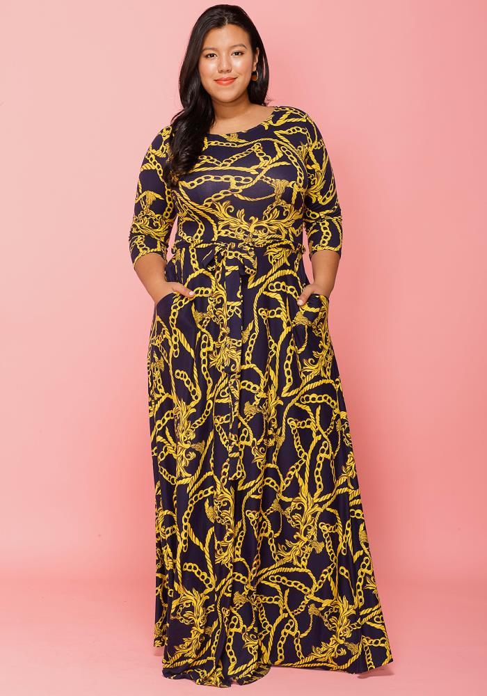 Asoph Plus Size Gold Leopard Print 3 4 Sleeve Maxi Dress  b6d167fca