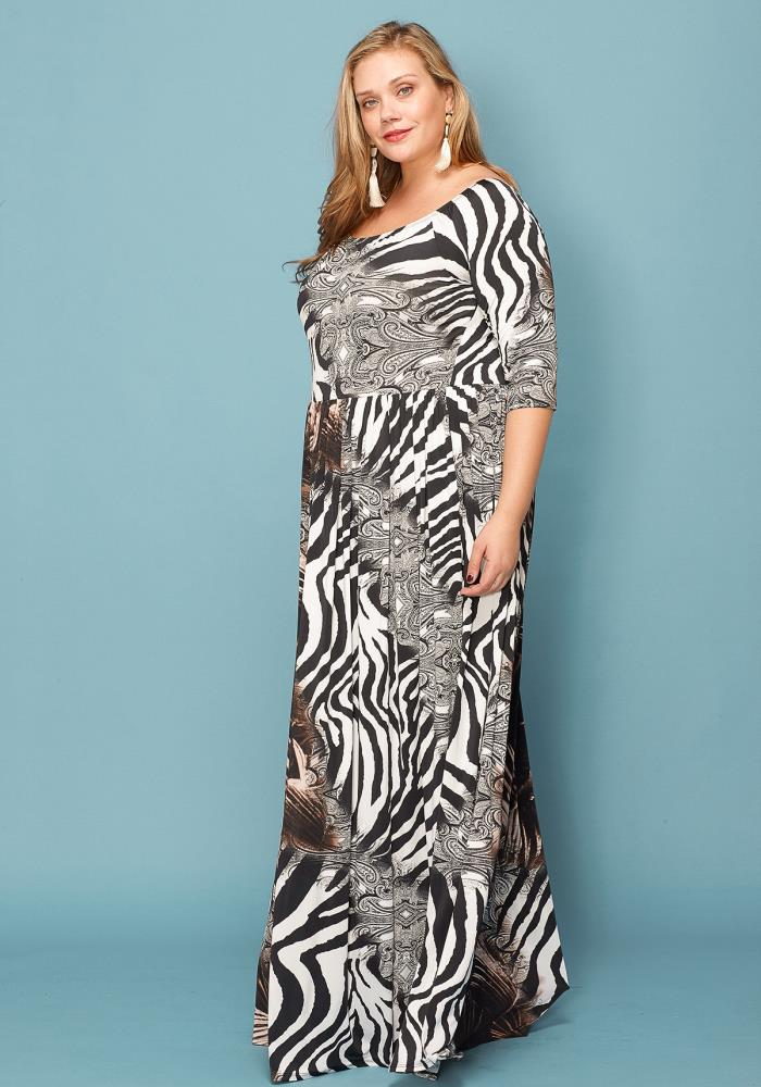 Asoph Plus Size Zebra Print Maxi Dress | Asoph.com