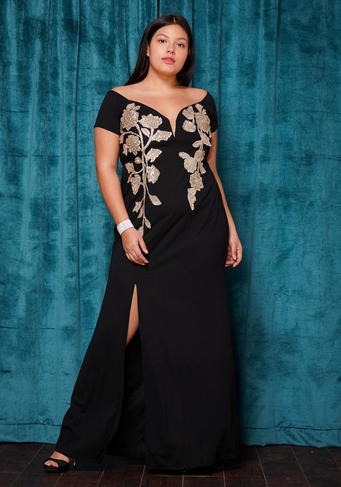 Asoph Plus Size Off Shoulder Slit Maxi Evening Gown | Asoph.com