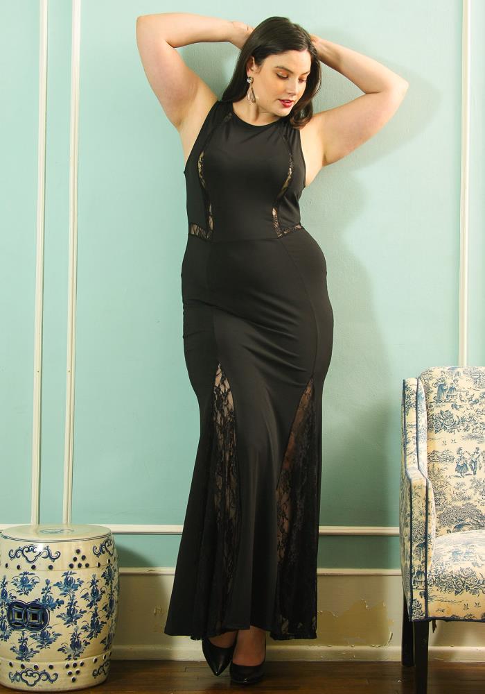40353e23e3348c Previous. Next. 1; 2; 3. STYLE #: 2003761. Asoph Plus Size Sleeveless Lace  Trim Maxi Dress