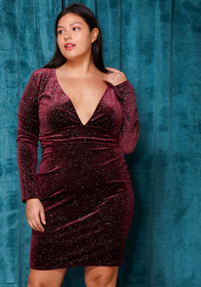 Asoph Plus Size Deep V-Neck Glitter Dress | Asoph.com
