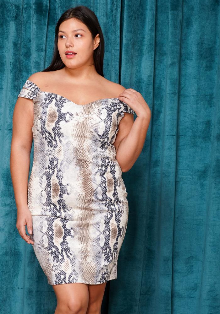 Asoph Plus Size Off Shoulder Snake Print Mini Dress   Asoph.com