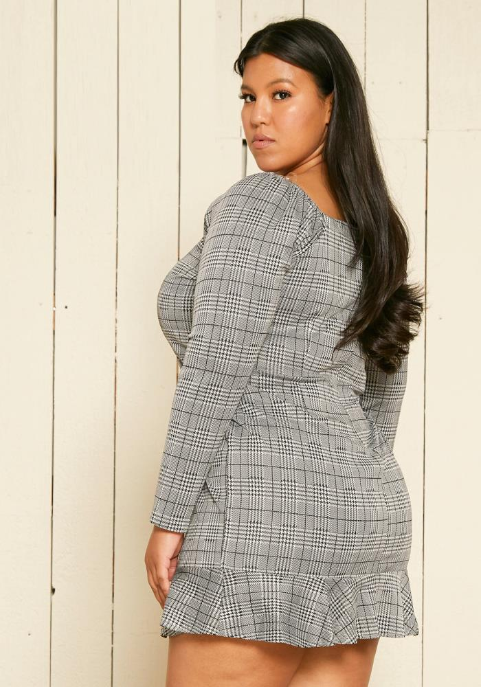 Asoph Plus Size Houndstooth Mini Dress | Asoph.com