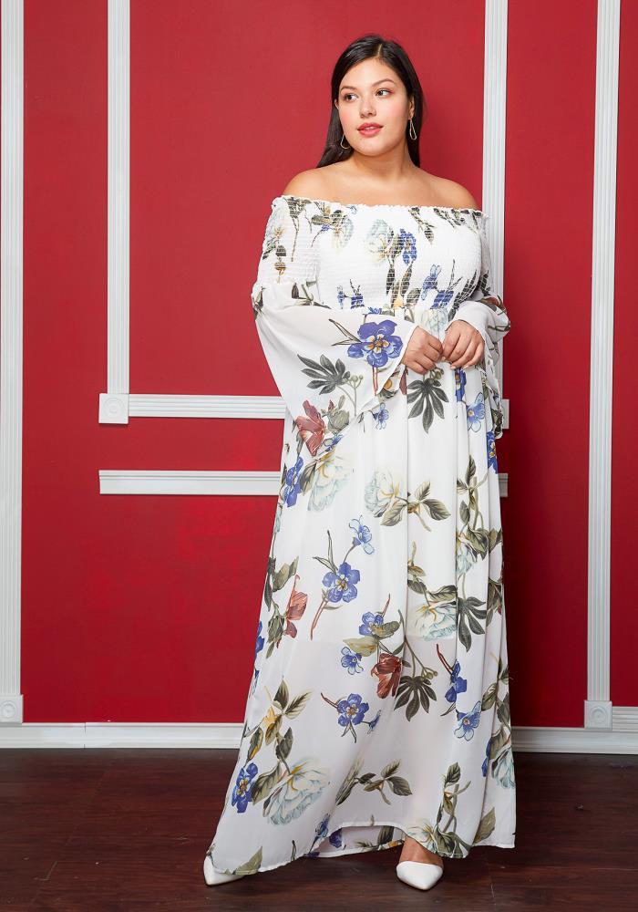 7551baef6b Asoph Plus Size Off The Shoulder Floral Print Wide Sleeve Dress ...