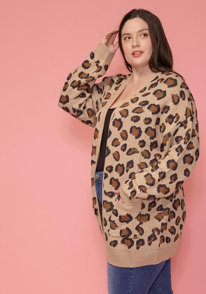 0c5066a568f Asoph Plus Size Leopard Print Thick Cardigan