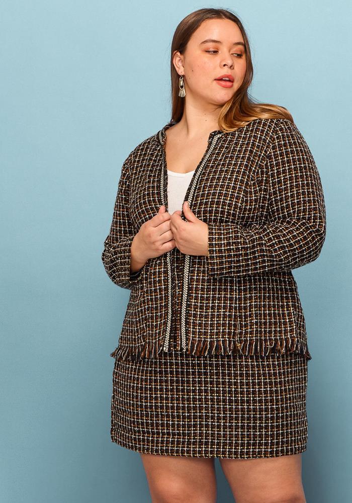 6d96208db8f Asoph Plus Size Tweed Jacket   Skirt Set
