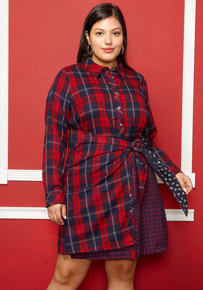 Asoph Plus Size Check Tie Front Shirt Dress | Asoph.com